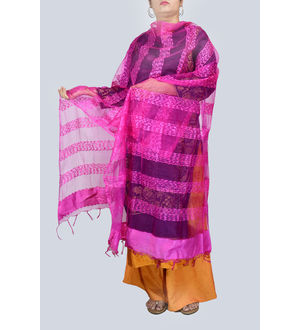 Magenta Transpatent Full Work Dupatta