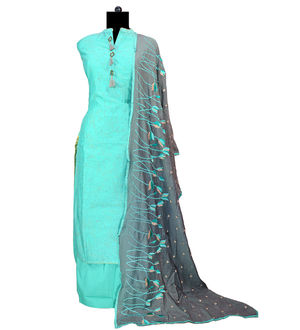Maheshwari Green Suit With Pure Chiffon Embroidered Grey Dupatta