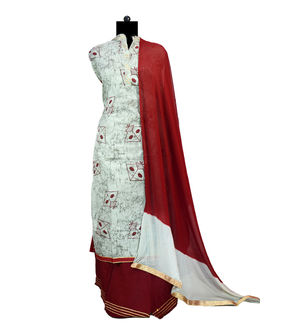 Maroon Grey Gotta Embroidered Cotton Suit With Pure Chiffon Dupatta