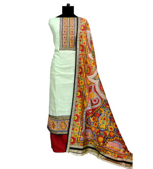 Mint Color Maheshwari Cotton Formal Suit With Maheshwari Floral Printed  Dupatta