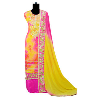 Multi Color Gotta Embroidered Suit With Formal Dupatta