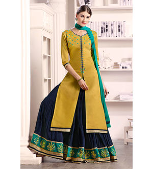 Mustard Blue Lengha Style Pure Cotton Suit With Dupatta