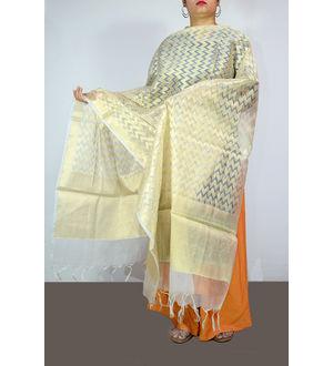 Off White Golden Banarsi Work Dupatta