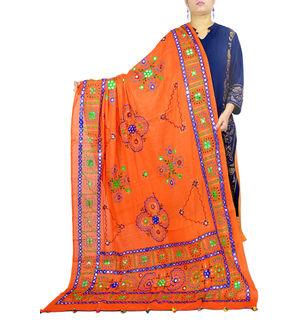 Orange Multi Color Aari Work Cotton Dupatta