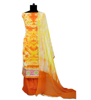 Orange Yellow Cotton Gotta Work Embroidered Designer Suit