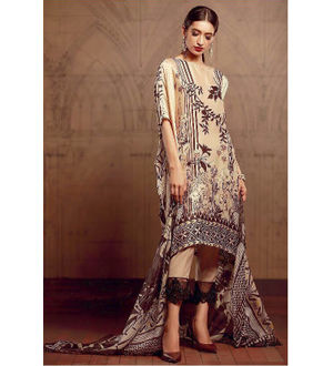 Pakistani Pashmina Beige Brown Embroidered Suit With Shawl