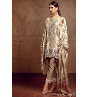 Pakistani Pashmina White Grey Embroidered Suit With Shawl