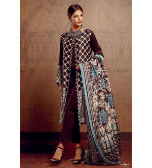 Pakistani Pashmina Brown Blue Embroidered Suit With Shawl