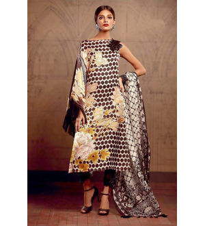 Pakistani Pashmina Brown Mustard Embroidered Suit With Shawl