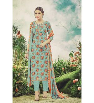 Pashmina Blue Peach Floral Suit With Shawl
