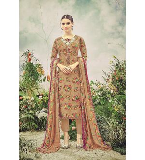 Pashmina Brown Maroon Floral Suit With Shawl