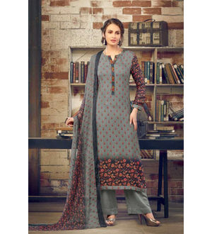 Pashmina Grey Floral Suit With Shawl