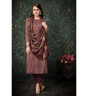 Pashmina Maroon Brown Suit With Shawl