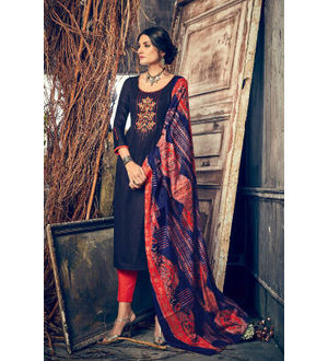 Pashmina Navy Blue Red Embroidered Suit With Shawl