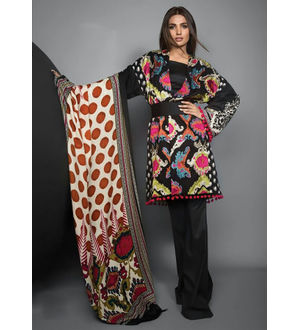 Pashmina Pakistani Black Multicolor Printed Suit With Pashmina Maroon Printed Shawl