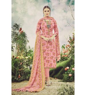 Pashmina Peach Floral Suit With Shawl