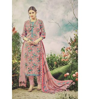 Pashmina Pink Green Floral Suit With Shawl