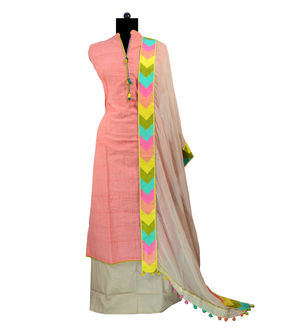Peach Color Cotton Embroidered Suit With Chiffon Dupatta