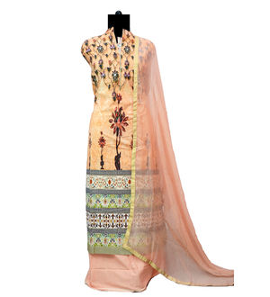 Peach Designer Cotton Suit with Pure Chiffon Dupatta