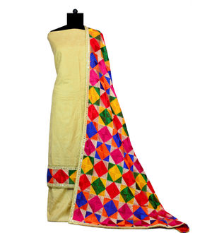 Phulkari Beige Jam Cotton Silk Suit