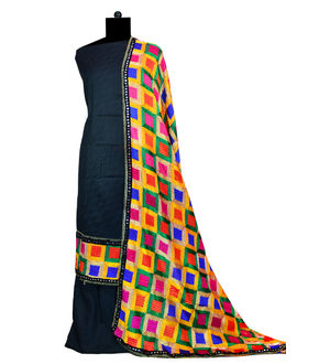 Phulkari Black Jam Cotton Silk Suit