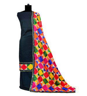 Phulkari Black Square Jam Cotton Silk Suit