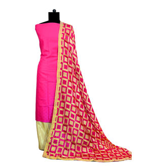 Phulkari Magenta Beige Jam Cotton Silk Suit