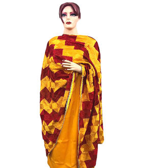 Phulkari Yellow Maroon Cotton Self Printed Suit With Full Jaal Phulkari Dupatta