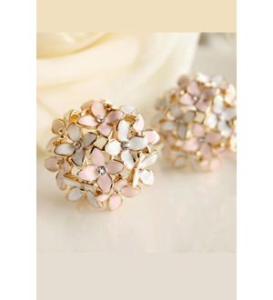 Pink Flower Four Leaf Stud Earrings