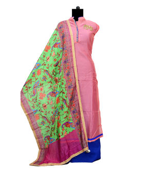 Pink Maheshwari Designer Suit With Silk Blendedded Dupatta