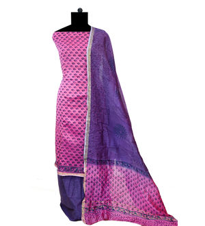 Pink Purple Block Printed Maheshwari Cotton Suits