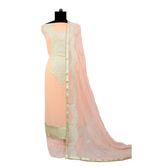 Pure Georgette Peach Silver Embroidered Suit With Chiffon Embroidered Dupatta