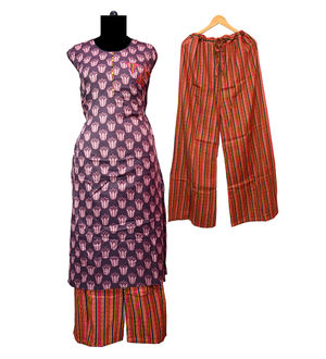 Purple Brown Soft Cotton Kurta Palazoo