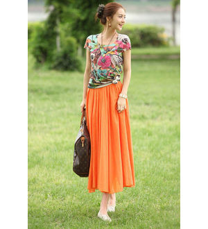 Reyon Cotton Orange Heavy Skirt