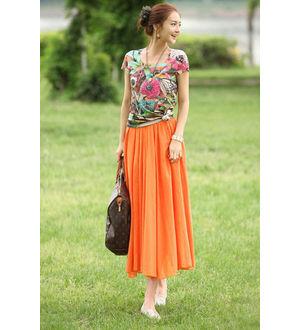 Reyon Cotton Orange Heavy Skirt