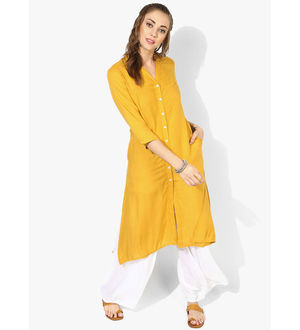 Sangria Collar 3-4Th Sleeves Flared Cotton Kurta With Contrast Button