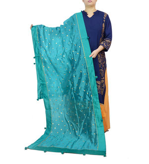 Sea Green Khadi Work Silk Dupatta