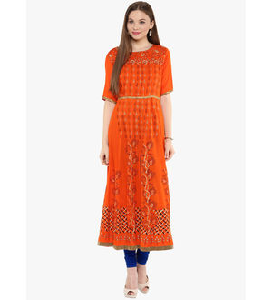 Shakumbhari Khadi Work Orange Printed Kurta