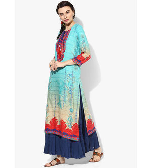Shree Blue Multicoloured Embellished Rayon Kurta