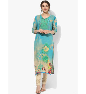 Shree Green Multicoloured Embellished Rayon Kurta