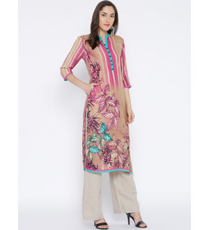 Shree Women Beige Pink Blue Printed Straight Kurta
