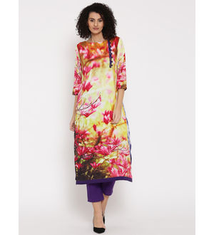 Shree Women Multicolour Printed Straight Kurta