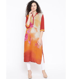 Shree Women Orange Maroon Orange Printed Straight Kurta