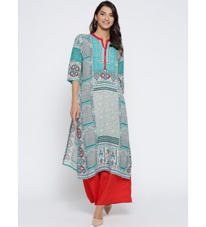 Shree Women Turquoise Blue Printed Straight Kurta