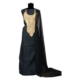 Tilla Work Black Color Silk Suit With Pure Chiffon Dupatta