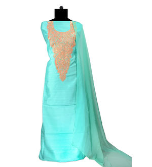Tilla Work Green Color Silk Suit With Pure Chiffon Dupatta