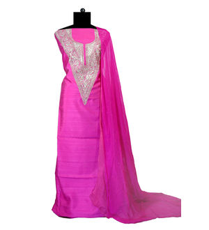 Tilla Work Magenta Color Silk Suit With Pure Chiffon Dupatta