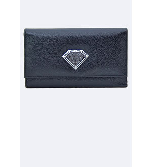Women Black Genuine Leather Clutch From Elegance