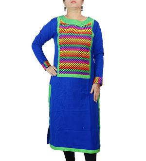Woolen Embroidered Blue Green Kurta