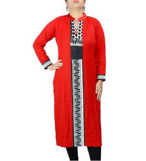 Woolen Red Black Kurta
